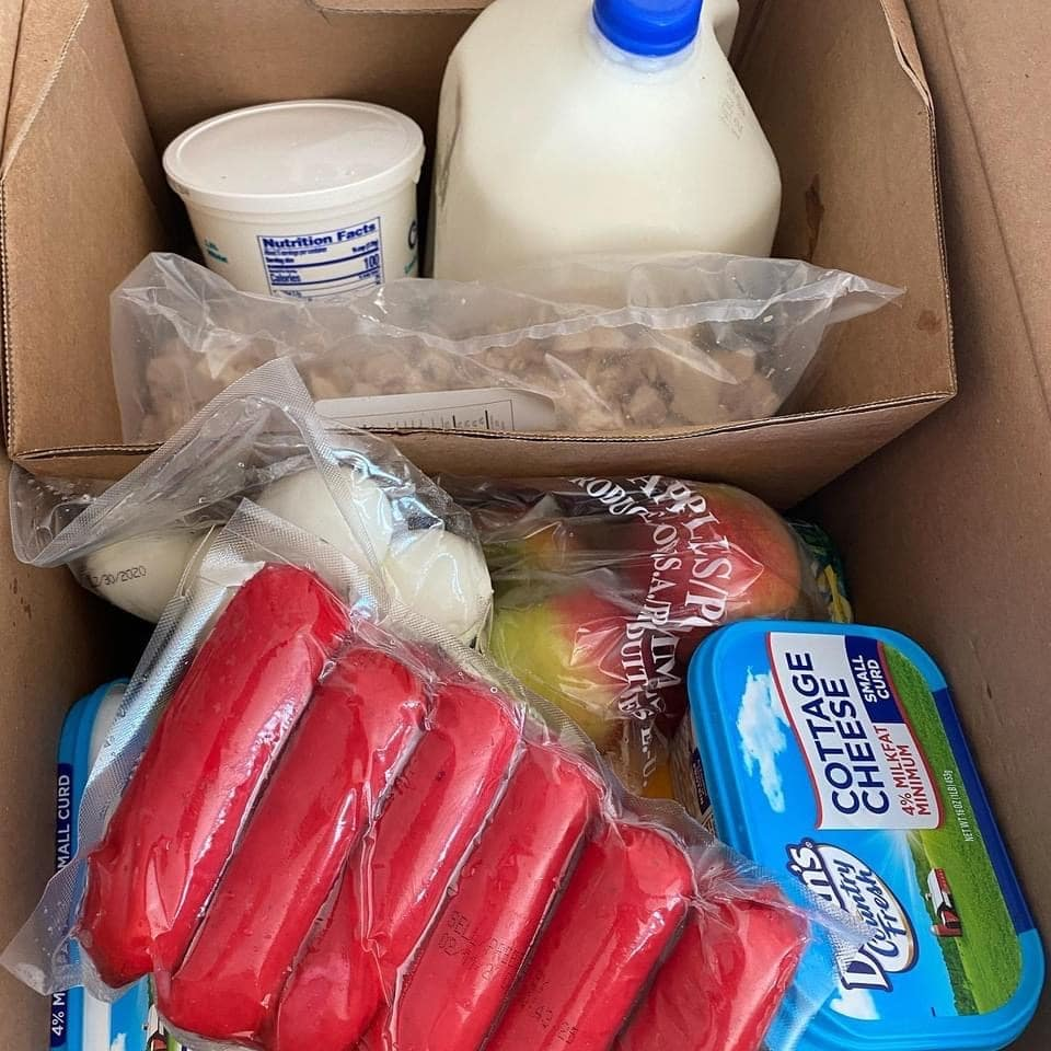 Food box at Farmers to Families Ensley event